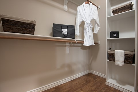 Spacious closets with built-in storage.