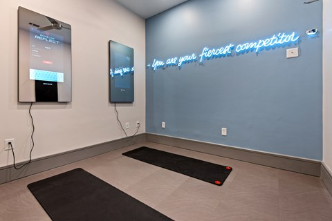 Yoga stretch studio with virtual fitness programs.