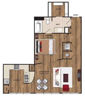 Studio/ one bathroom, kitchen, walk-in closet, coat closet, laundry room,E2 Bluff floor plan, 827 square feet.