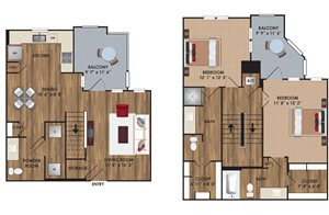 Two bedroom, two and a half bathroom townhome, pantry, coat closet, living room, dining room, two walk-in closets, linen closet and patio and laundry room. TH1 District floor plan, 1305 square feet.