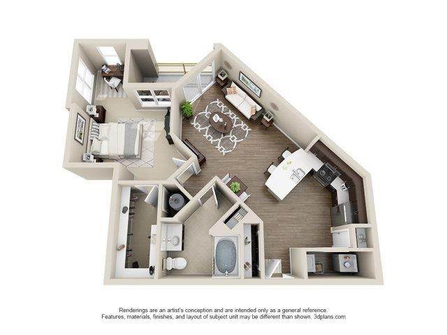 The Caswell Floor Plan at Elizabeth Square Apartments in Charlotte, NC