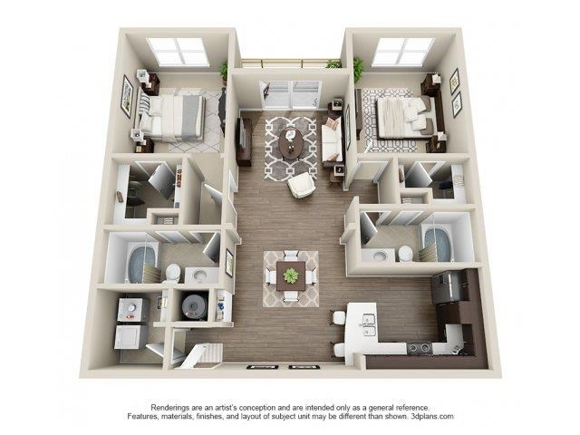 The Davidson Floor Plan at Elizabeth Square Apartments in Charlotte, NC