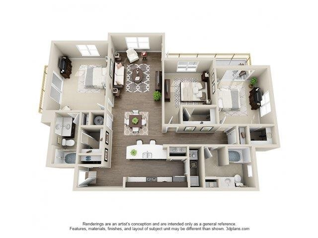 The Hawthorne Floor Plan at Elizabeth Square Apartments in Charlotte, NC