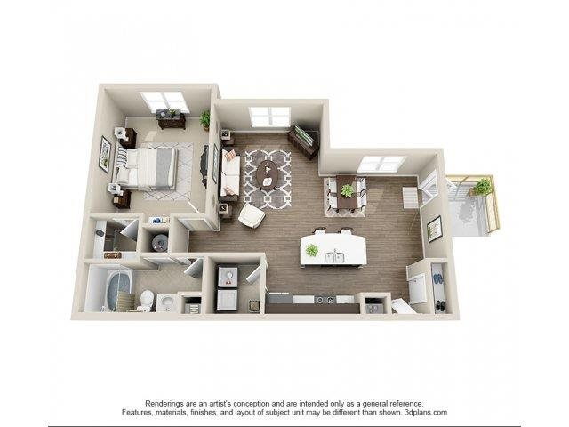 The Linden Floor Plan at Elizabeth Square Apartments in Charlotte, NC