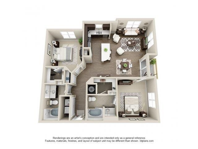 The Piedmont Floor Plan at Elizabeth Square Apartments in Charlotte, NC