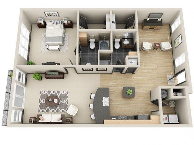 Celebrity 1 Bed 3 Bath Floor Plan at Mosaic South End Apartments in Charlotte, NC
