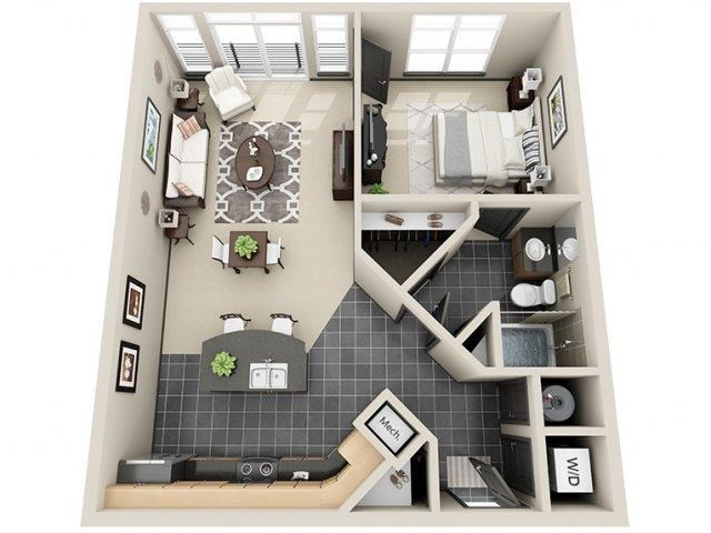 Destiny 1 Bed 1 Bath Floor Plan at Mosaic South End Apartments in Charlotte, NC