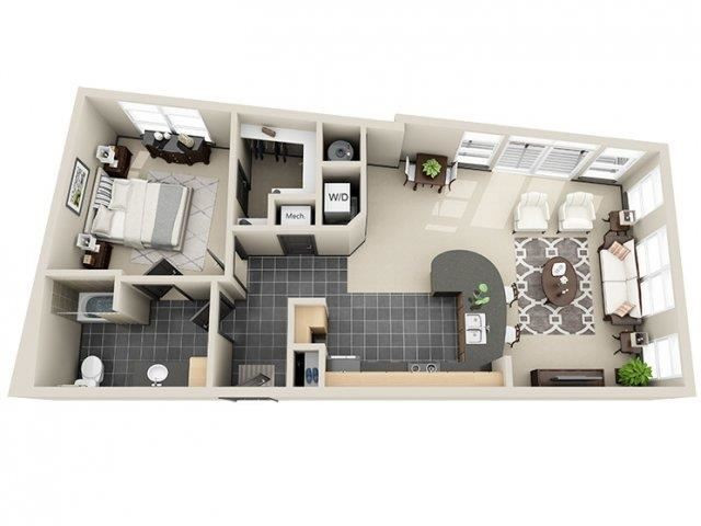 Equality 1 Bed 1 Bath Floor Plan at Mosaic South End Apartments in Charlotte, NC