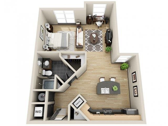 Eternity Studio Floor Plan at Mosaic South End Apartments in Charlotte, NC