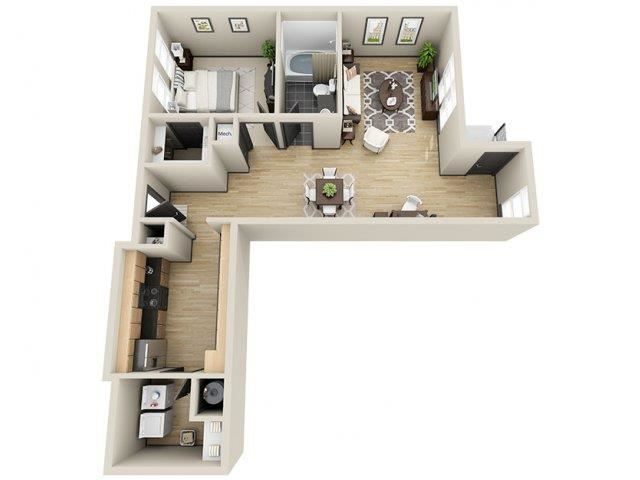 Fortune 1 Bed 1 Bath Floor Plan at Mosaic South End Apartments in Charlotte, NC