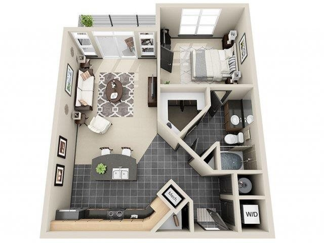 Infinity 1 Bed 1 Bath Floor Plan at Mosaic South End Apartments in Charlotte, NC