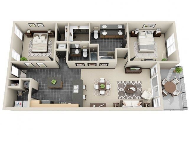 Peace 2 Bed 2 Bath Floor Plan at Mosaic South End Apartments in Charlotte, NC