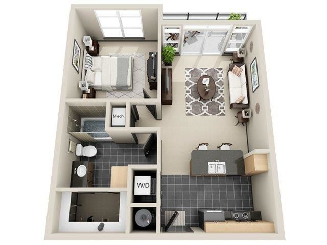 Prosperity 1 Bed 1 Bath Floor Plan at Mosaic South End Apartments in Charlotte, NC