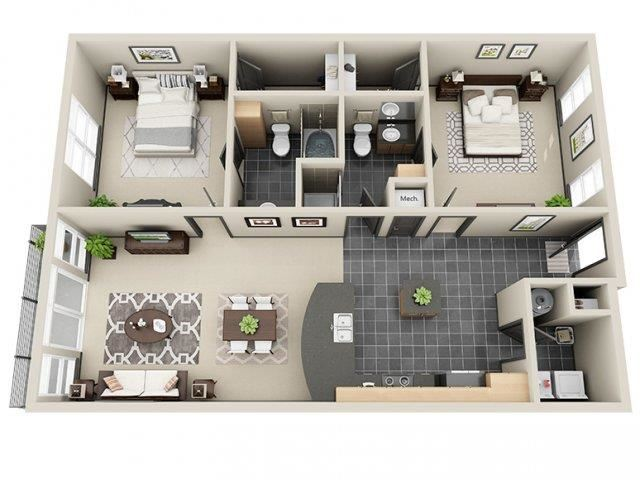 Radiance 2 Bed 2 Bath Floor Plan at Mosaic South End Apartments in Charlotte, NC