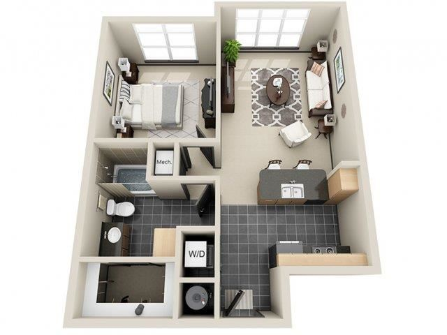 Serenity 1 Bed 1 Bath Floor Plan at Mosaic South End Apartments in Charlotte, NC