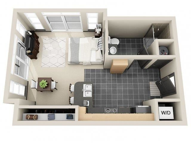 Simplicity Studio Floor Plan at Mosaic South End Apartments in Charlotte, NC