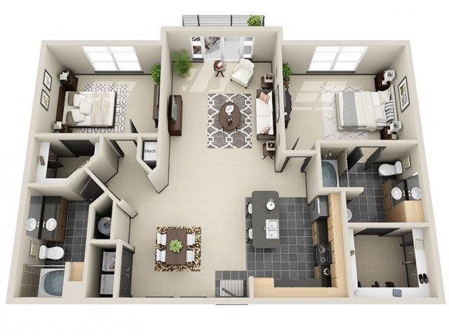 Tranquility 2 Bed 2 Bath Floor Plan at Mosaic South End Apartments in Charlotte, NC