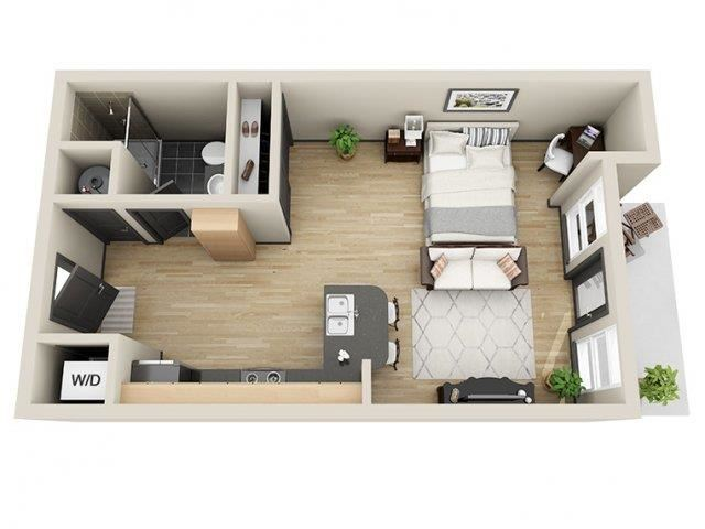 Unity Studio Floor Plan at Mosaic South End Apartments in Charlotte, NC