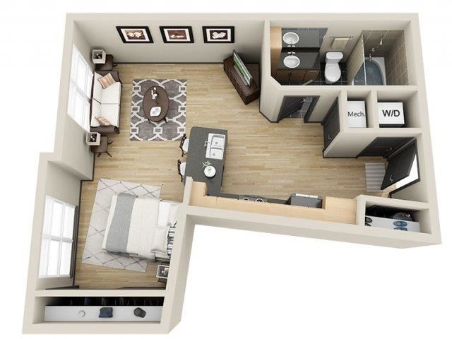 Victory Studio Floor Plan at Mosaic South End Apartments in Charlotte, NC