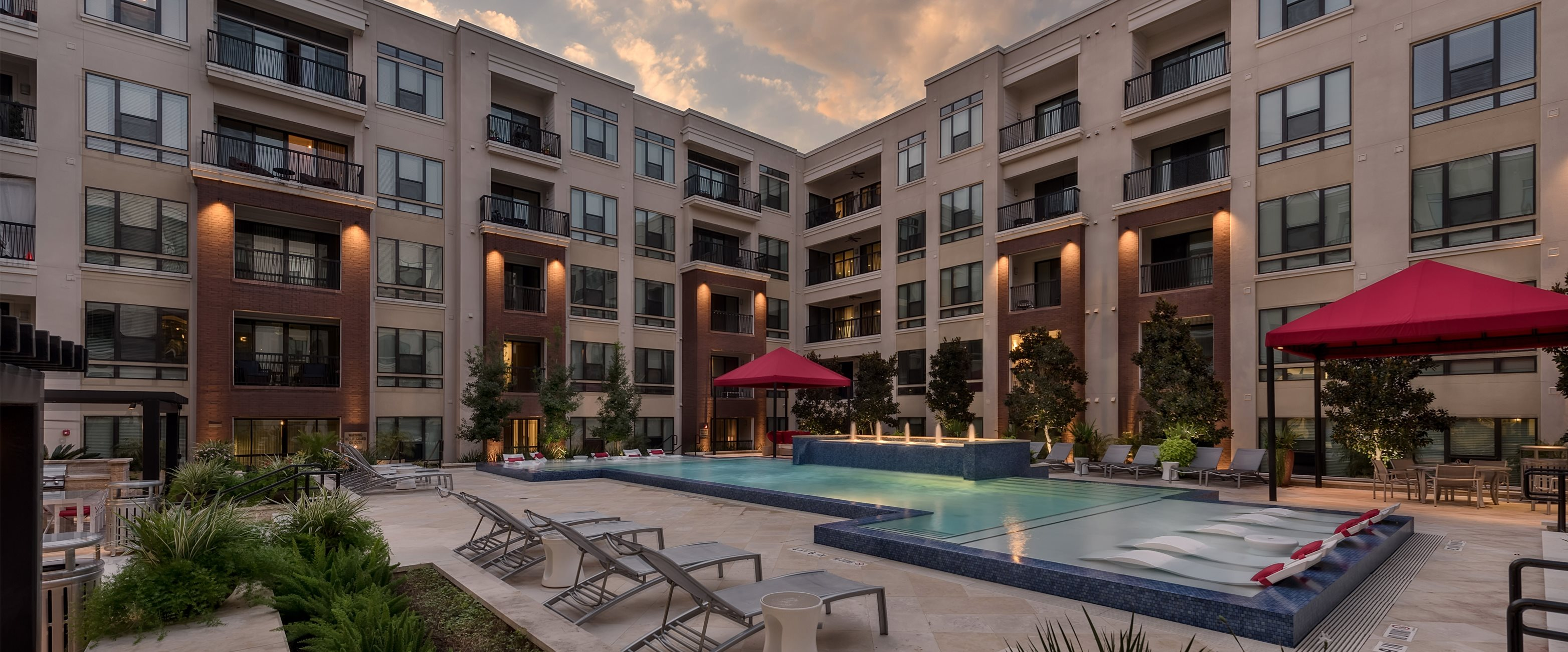 Pool During Sunset at Ascent at CityCentre Apartments in Houston, Texas