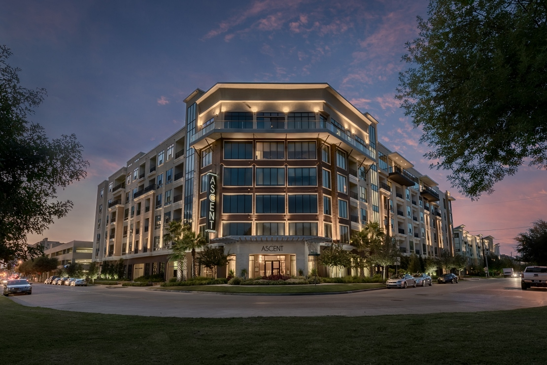 Property Exterior at Night at Ascent at CityCentre Apartments in Houston, Texas