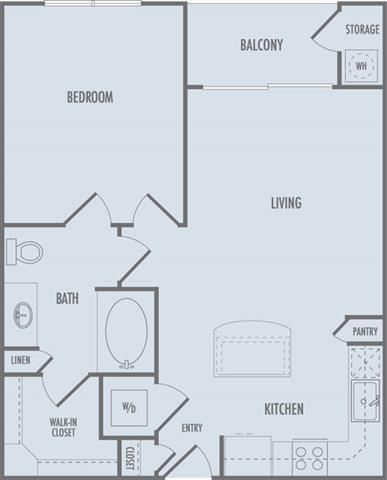A1 Floor Plan at Domain at CityCentre Apartments in Houston, Texas