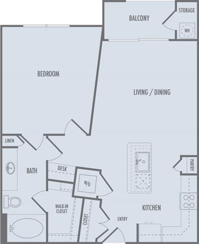 A2 Floor Plan at Domain at CityCentre Apartments in Houston, Texas