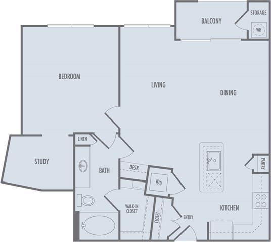 A3 Floor Plan at Domain at CityCentre Apartments in Houston, Texas