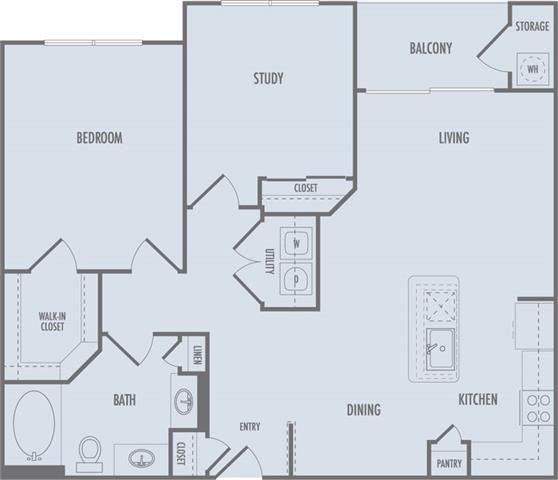 B1 Floor Plan at Domain at CityCentre Apartments in Houston, Texas