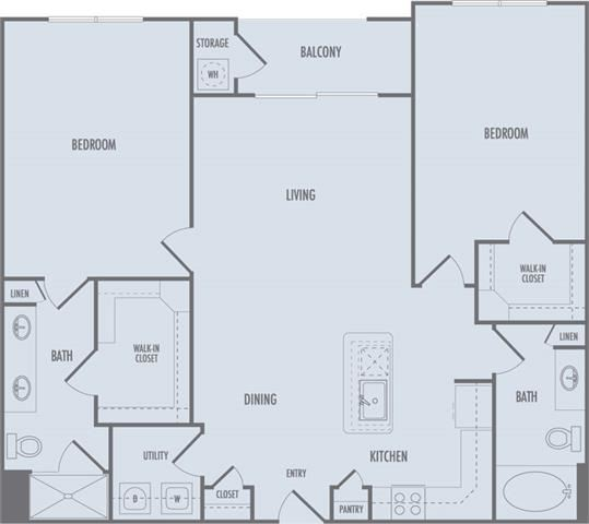 C1 Floor Plan at Domain at CityCentre Apartments in Houston, Texas
