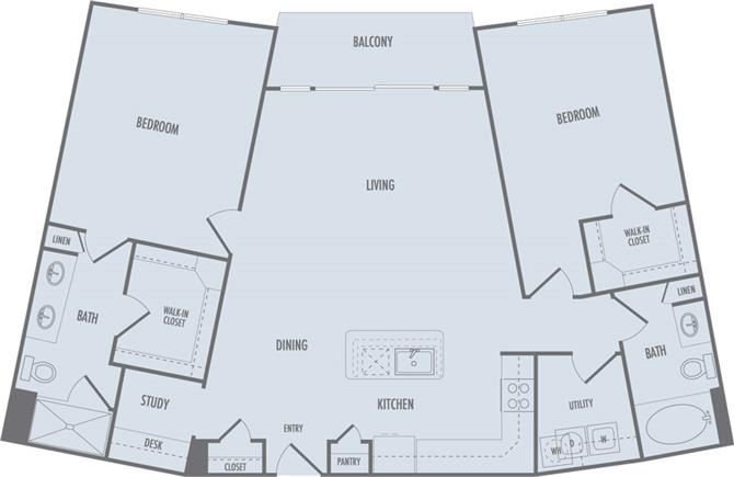 C3a Floor Plan at Domain at CityCentre Apartments in Houston, Texas