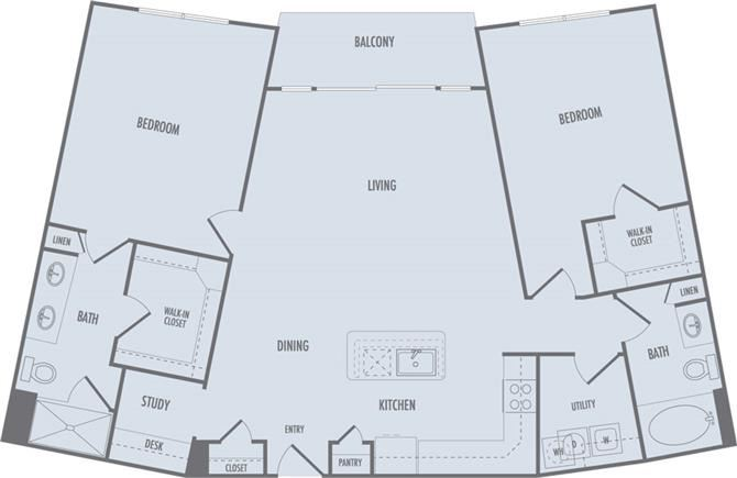 C3b Floor Plan at Domain at CityCentre Apartments in Houston, Texas