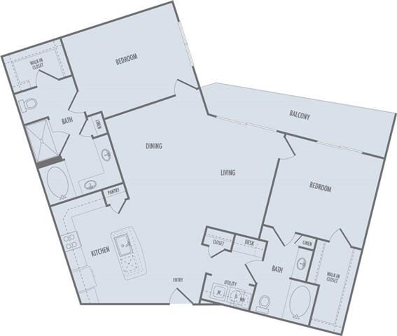 C4 Floor Plan at Domain at CityCentre Apartments in Houston, Texas
