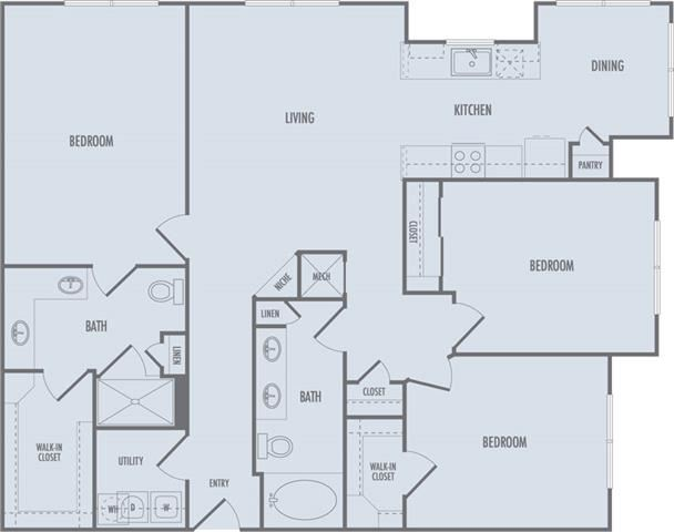 E1a Floor Plan at Domain at CityCentre Apartments in Houston, Texas