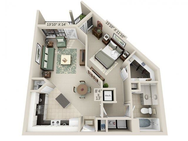 A2 - Esplanade Floor Plan at The Circle at Hermann Park in Houston, Texas