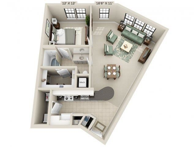 A6 - Esplanade Floor Plan at The Circle at Hermann Park in Houston, Texas