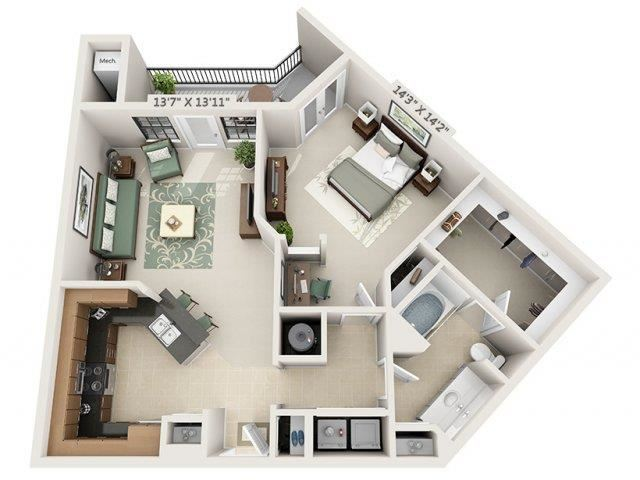 A8 - Almafi Floor Plan at The Circle at Hermann Park in Houston, Texas