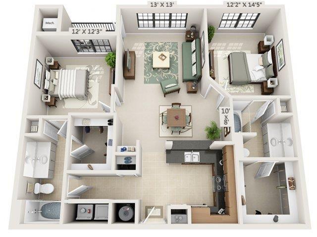 B1 - Almafi Floor Plan at The Circle at Hermann Park in Houston, Texas