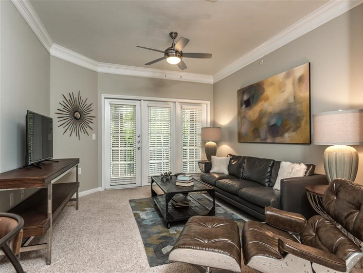 Living Room Interior Design at The Circle at Hermann Park in Houston, Texas