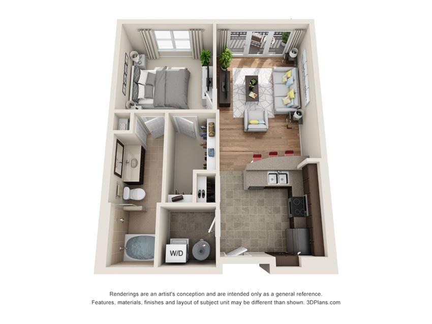 Avalon Floor Plan at La Maison River Oaks Apartments in Houston, Texas