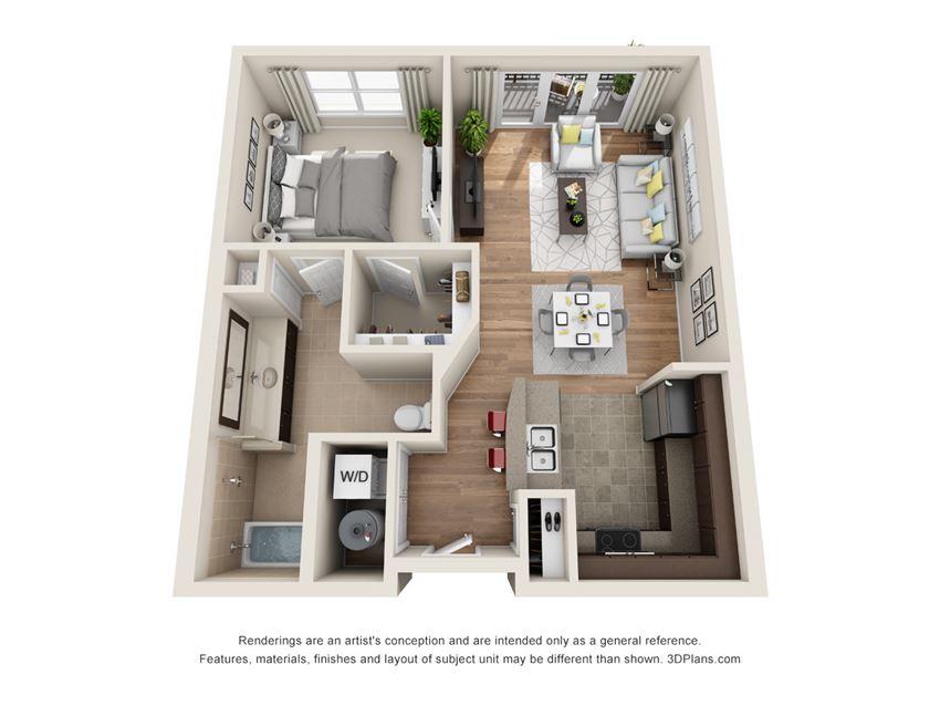 Briarwood Floor Plan at La Maison River Oaks Apartments in Houston, Texas