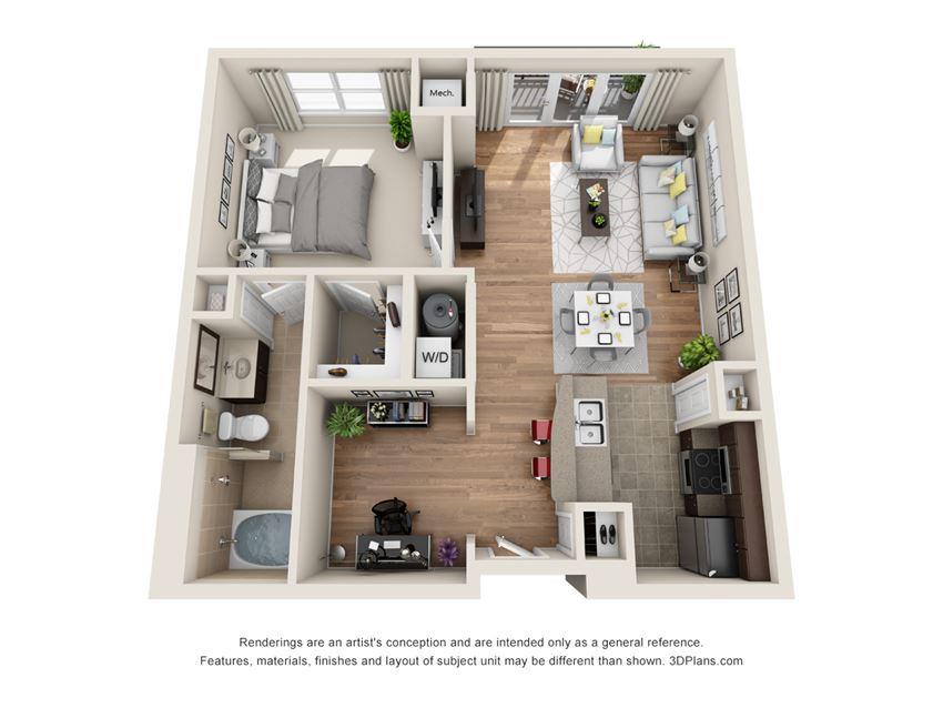 Huntington Floor Plan at La Maison River Oaks Apartments in Houston, Texas
