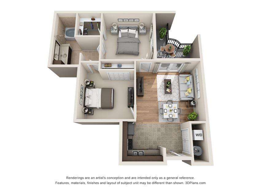 Inverness Floor Plan at La Maison River Oaks Apartments in Houston, Texas