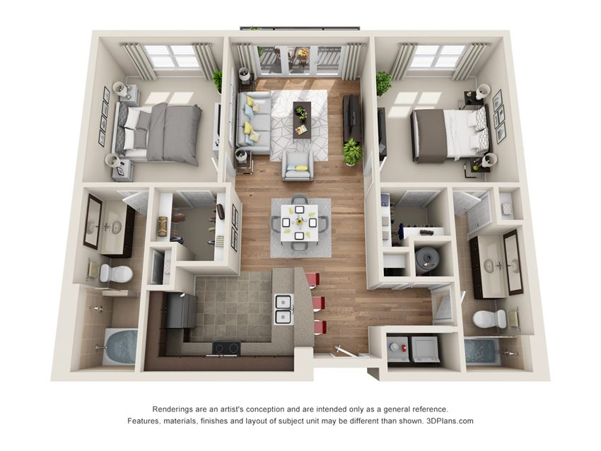 Inwood Floor Plan at La Maison River Oaks Apartments in Houston, Texas