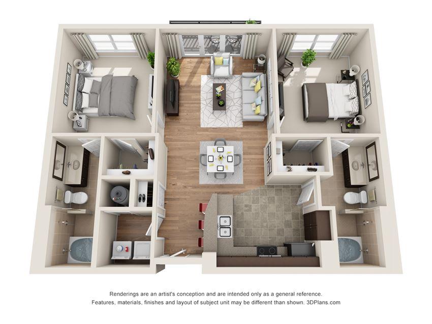 Knollwood Floor Plan at La Maison River Oaks Apartments in Houston, Texas