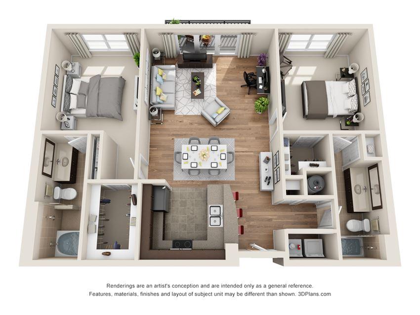 Lazy Lane Floor Plan at La Maison River Oaks Apartments in Houston, Texas