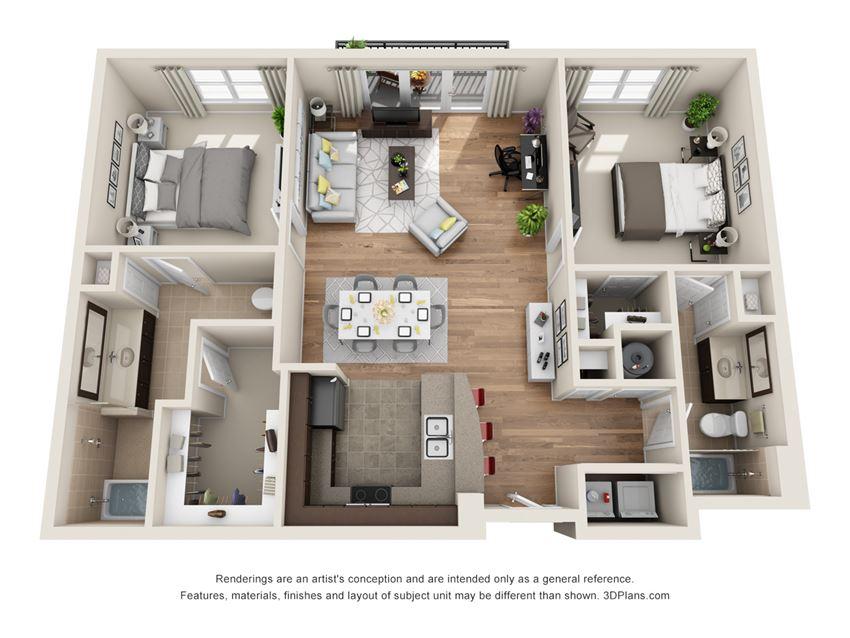 Olympia Floor Plan at La Maison River Oaks Apartments in Houston, Texas