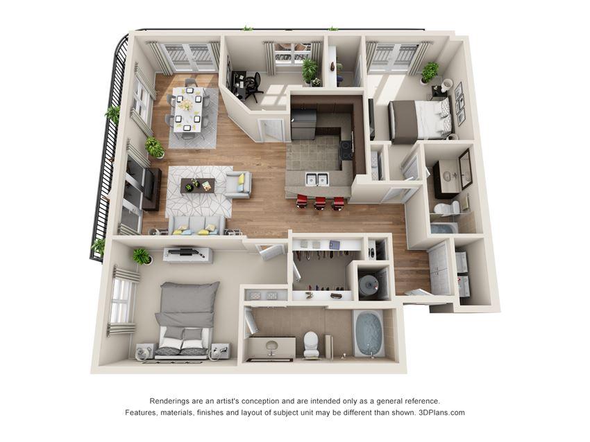 Willowick Floor Plan at La Maison River Oaks Apartments in Houston, Texas