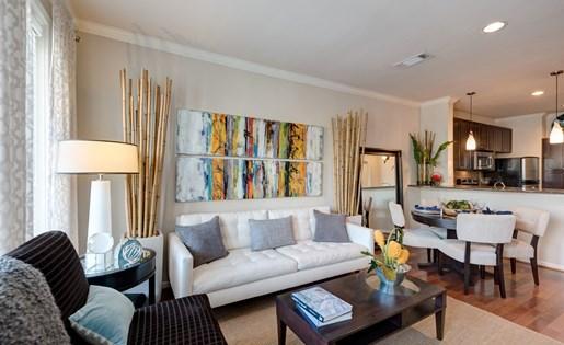 Living Room Decor at La Maison River Oaks Apartments in Houston, Texas