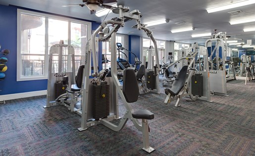 Fully-Equipped Fitness Center at La Maison River Oaks Apartments in Houston, Texas
